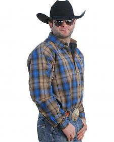 Cinch Men's Blue and Tan Plaid Western Shirt