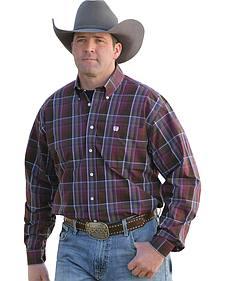 Cinch Men's Burgundy Plaid Western Shirt