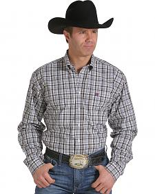 Cinch Men's White, Wine and Grey Plaid Western Shirt