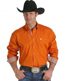 Cinch Men's Solid Orange Contrast Western Shirt