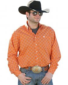 Cinch Men's Orange Dot Print Western Shirt