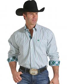 Cinch Men's Green and Blue Striped White Western Shirt