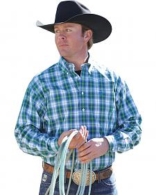 Cinch Men's Blue Green Plaid Contrast Western Shirt