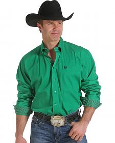 Cinch Men's Solid Green Contrast Print Western Shirt
