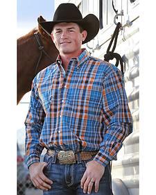 Cinch Men's Blue and Orange Plaid Western Shirt