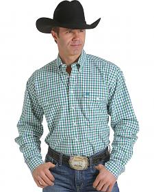 Cinch Men's Green and White Plaid Double Pocket Western Shirt