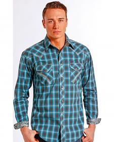 Rough Stock by Panhandle Slim Teal Plaid Barrow Western Shirt