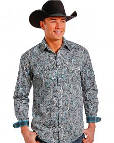 Rough Stock by Panhandle Slim Grey and Green Paisley Western Snap Shirt