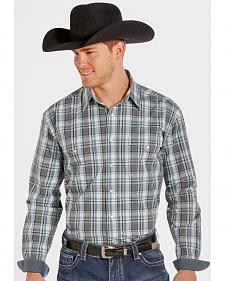 Rough Stock by Panhandle Slim Teal and Grey Plaid Western Snap Shirt