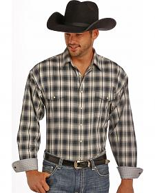 Panhandle Slim Men's Grey Plaid Dobby Western Shirt