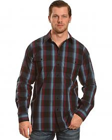 Panhandle Slim Navy and Burgundy Plaid Snap Western Shirt