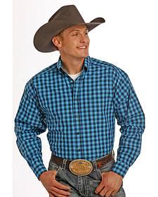 Tuf Cooper Performance Turquoise Plaid Western Shirt