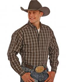 Tuf Cooper Performance Grey and Tan Plaid Western Shirt