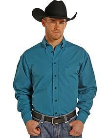 Panhandle Slim Men's Turquoise Check Western Shirt