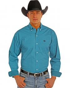 Panhandle Slim Men's Turquoise Peached Print Western Shirt