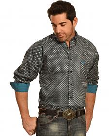 Panhandle Slim Men's Black and Turquoise Print Western Shirt