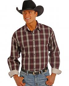 Panhandle Slim Men's Burgundy Plaid Snap Western Shirt