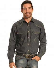 Crazy Cowboy Men's Grey Print Heavy Stitch Western Snap Shirt