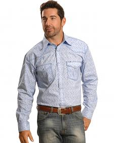 Crazy Cowboy Men's Blue Mini-Paisley Western Snap Shirt
