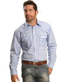 Crazy Cowboy Men's Blue Mini-Paisley Western Snap Shirt