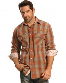 Crazy Cowboy Men's Rust Plaid Contrast Trim Western Shirt