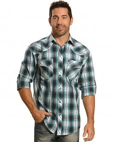 Crazy Cowboy Men's Blue Plaid Fancy Yoke Western Snap Shirt