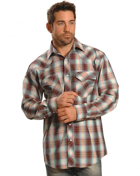 Crazy Cowboy Men's Plaid Heavy Stitch Western Snap Shirt
