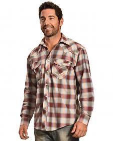 Crazy Cowboy Men's Red Ombre Plaid Snap Shirt
