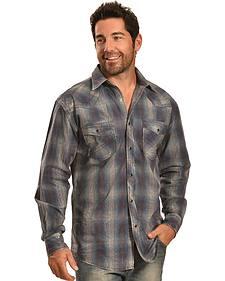 Crazy Cowboy Men's Vintage Blue Plaid Snap Shirt