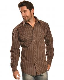 Crazy Cowboy Men's Brown Stripe Snap Shirt