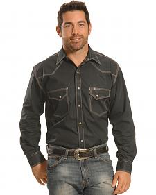 Crazy Cowboy Men's Grey Triple-Stitch Western Snap Shirt