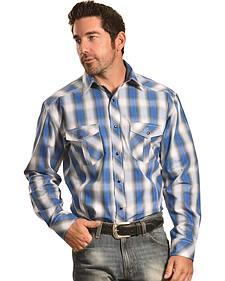 Crazy Cowboy Men's Blue Plaid Western Snap Shirt