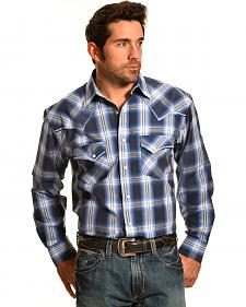 Crazy Cowboy Men's Blue Plaid Stitched Western Snap Shirt