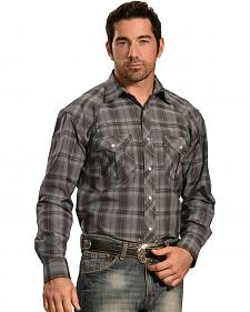 Crazy Cowboy Men's Grey Tonal Plaid Western Snap Shirt
