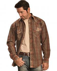 Crazy Cowboy Men's Distressed Brown Plaid Western Snap Shirt