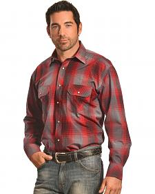 Crazy Cowboy Men's Red and Black Plaid Western Snap Shirt