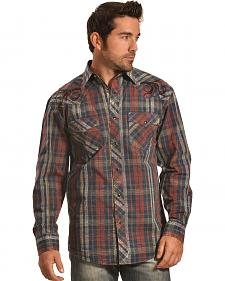 Crazy Cowboy Men's Distressed Plaid Embroidered Western Snap Shirt