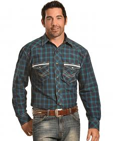 Crazy Cowboy Men's Navy Plaid Western Snap Shirt