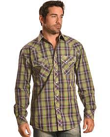 Crazy Cowboy Men's Plaid Western Snap Shirt