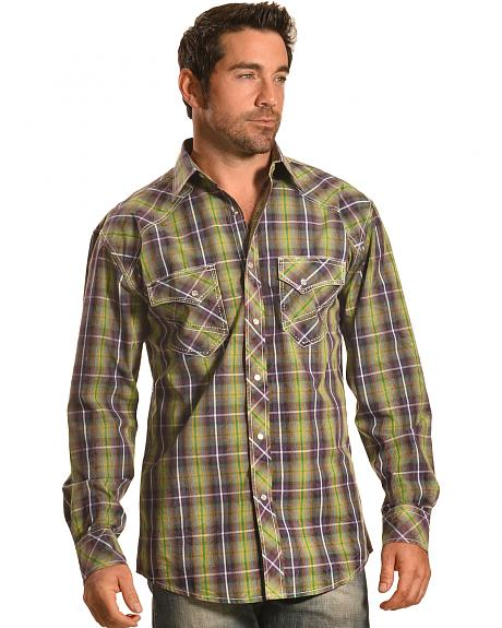 Crazy Cowboy Men's Plaid Western Snap Shirt