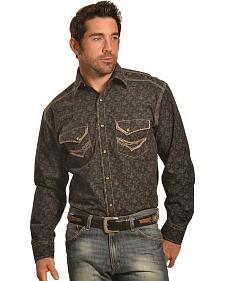 Crazy Cowboy Men's Black Print Western Snap Shirt