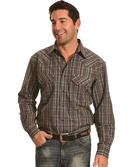 Crazy Cowboy Men's Brown and Black Plaid Western Snap Shirt