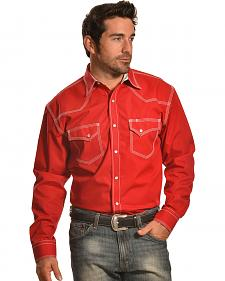 Crazy Cowboy Men's Red Triple-Stitched Western Snap Shirt