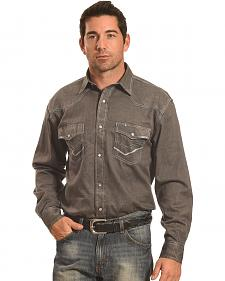Crazy Cowboy Men's Grey Stitch Trim Western Snap Shirt