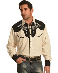 Crazy Cowboy Men's Cream and Black Vintage Western Snap Shirt
