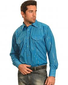 Crazy Cowboy Men's Teal Lurex Western Snap Shirt