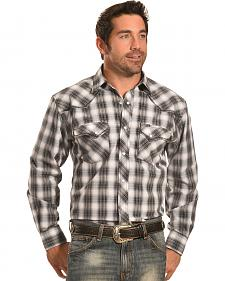Crazy Cowboy Men's Stitched Black Plaid Western Snap Shirt