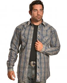 Crazy Cowboy Men's Muted Grey and Blue Plaid Western Snap Shirt