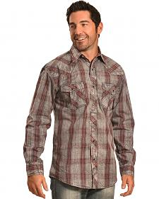 Crazy Cowboy Men's Distressed Red Plaid Western Snap Shirt
