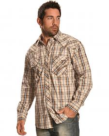 Crazy Cowboy Men's Brown & Grey Plaid Snap Shirt